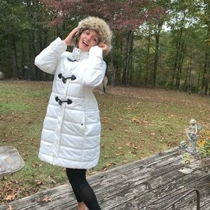 Express White Down Filled Faux Fur Hooded Coat